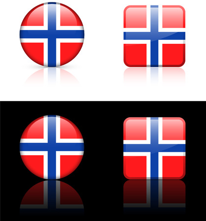 norway flag: norway Flag Buttons on White and Black Background Original Vector Illustration Illustration