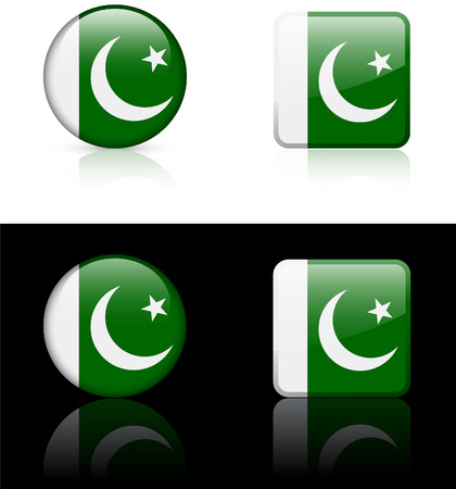 pakistan flag: Pakistan Flag Buttons on White and Black Background