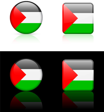 palestine Flag Buttons on White and Black Background Original Vector Illustration
