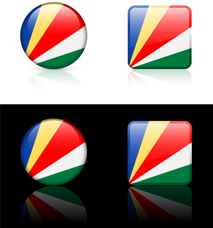 seychelles: Seychelles Flag Buttons on White and Black Background Original Vector Illustration