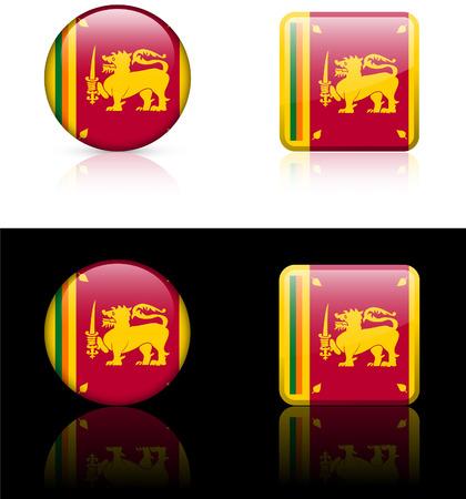 srilanka: Srilanka Flag Buttons on White and Black Background Original Vector Illustration
