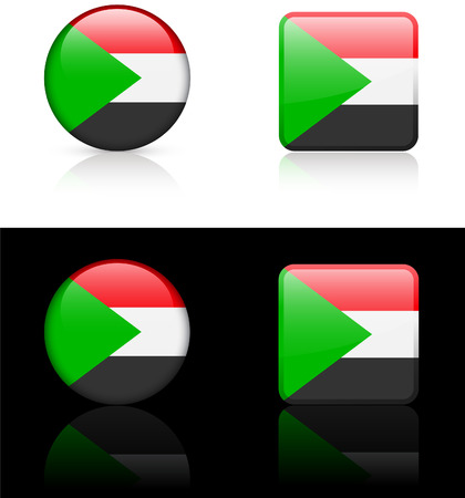 Sudan Flag Buttons on White and Black Background   Vector