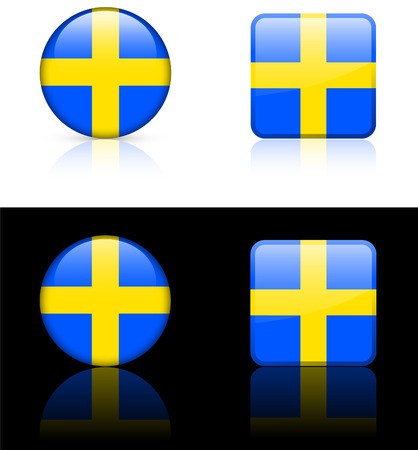 Sweden Flag Buttons on White and Black Background Original Vector Illustration Vector