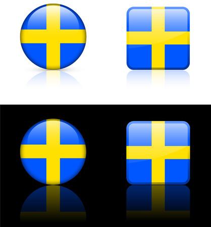 sweden flag: Sweden Flag Buttons on White and Black Background Original Vector Illustration