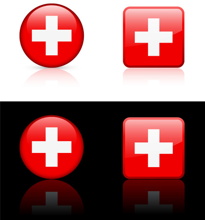 Swiss Flag Buttons on White and Black Background  Vector