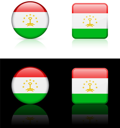 Tajikistan Flag Buttons on White and Black Background