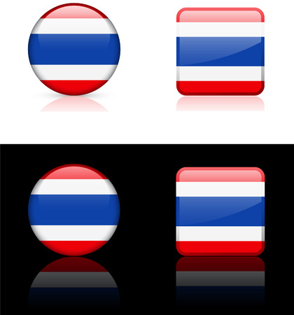 Thailand Flag Buttons on White and Black Background