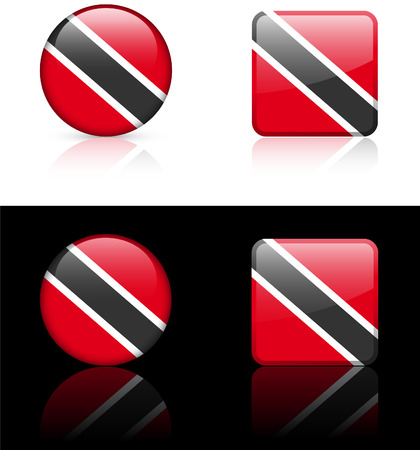 trinidad: Trinidad Flag Buttons on White and Black Background Original Vector Illustration