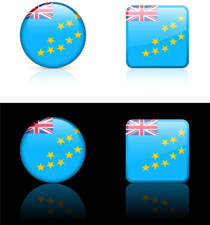 tuvalu: Tuvalu Flag Buttons on White and Black Background   Illustration