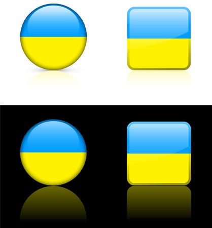 ウクライナの国旗は白と黒にボタン背景ベクトル イラスト