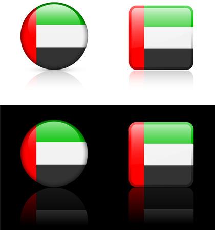 Verenigde Arabische Emiraten: Verenigde Arabische Emiraten vlag knoppen op witte en zwarte achtergrond Stock Illustratie