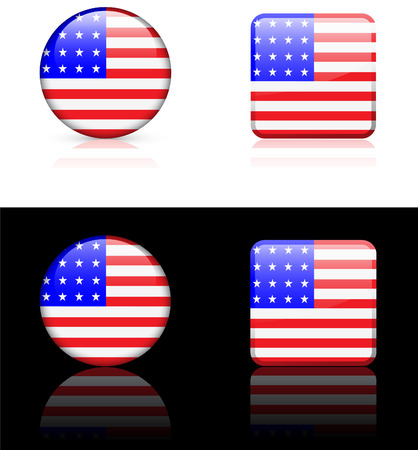 white background: United States Flag Buttons on White and Black Background
