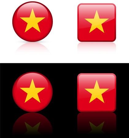 Vietnam Flag Buttons on White and Black Background   Vector