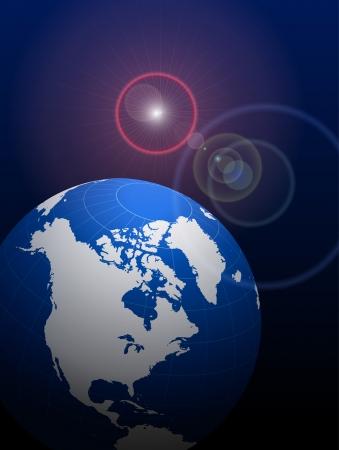 Globe on Lens Glare Background   Illusztráció