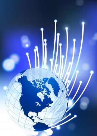 Globe on Fiber Optic Background Original Vector Illustration