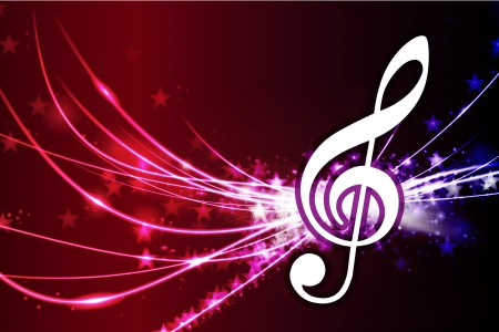 Musical Note on Abstract Background Original Illustration Иллюстрация
