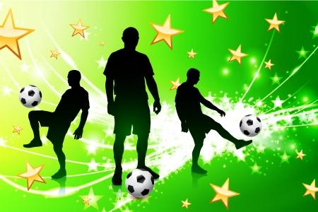 light streaks: Soccer Player on Green Abstract Light Background