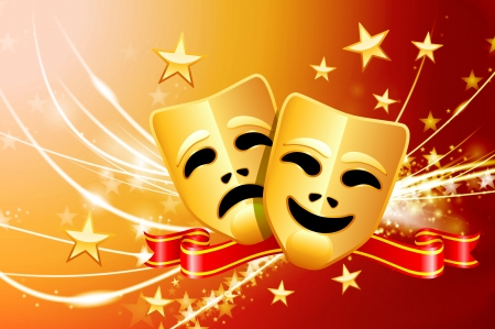 Comedy and Tragedy Masks on Abstract Modern Light Background  Vector