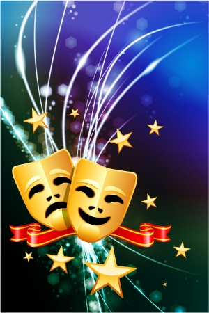 Comedy and Tragedy Masks on Abstract Modern Light Background