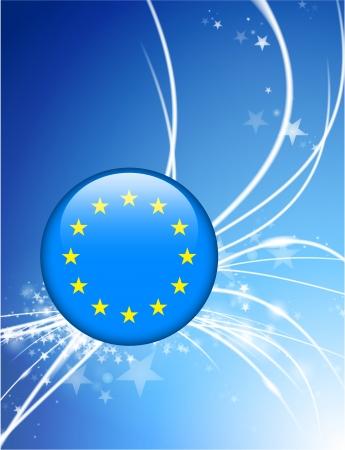 European Union Button on Abstract Modern Light Background