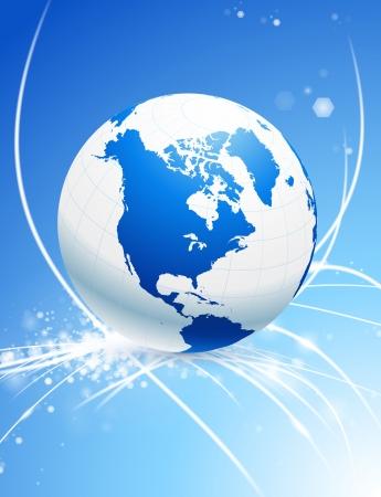Globe on Abstract Glare Background
