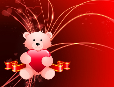 Valentines Day Bear on Abstract Light Background  Vector