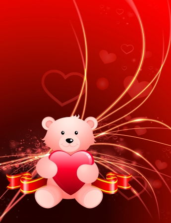 Valentines Day Bear on Abstract Light Background Original Illustration Vector