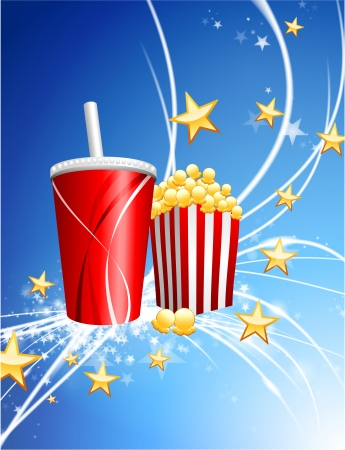 Popcorn and Soda on Abstract Modern Light Background Stock Vector - 22411337