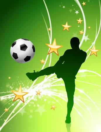 Soccer Player on Green Abstract Light Background Original Illustration Vector