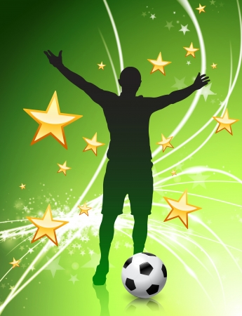 Soccer Player on Green Abstract Light Background  Vector