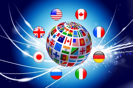 Flag Globe on Abstract Modern Light Background Original Illustration Vector