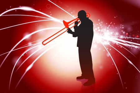 Trumpet Musician on Abstract Light Background Original Illustration