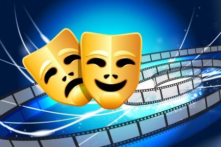 comedy and tragedy masks: Comedy and Tragedy Masks on Abstract Modern Light Background Original Illustration
