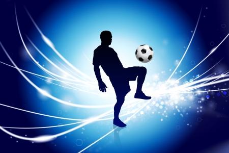 Voetbalspeler op abstracte moderne lichte achtergrond Oorspronkelijke afbeelding Stock Illustratie