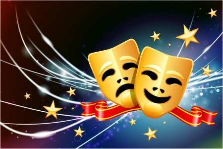 comedy and tragedy masks: Comedy and Tragedy Masks on Abstract Modern Light Background