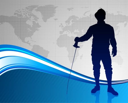 Fencing Sport on Abstract World Map Background Original Illustration