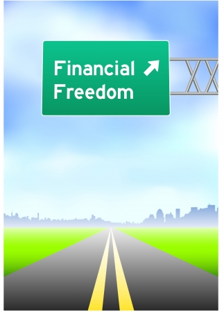 highway sign: Financial Freedom Highway Sign  Illustration