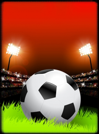 soccer stadium: Soccer Ball on Stadium Background  Illustration