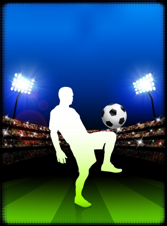 Soccer Player on Stadium Background