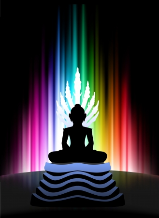 Buddha on Abstract Spectrum Background  Original Illustration