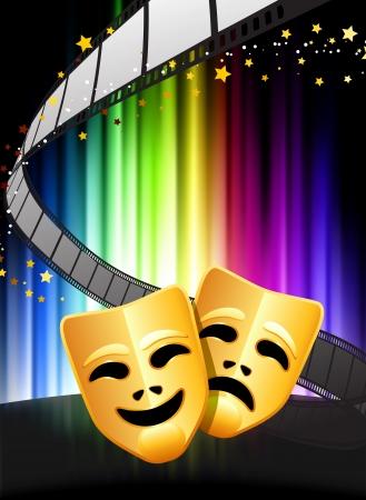 comedy and tragedy masks: Comedy and Tragedy Masks on Abstract Spectrum Background  Illustration