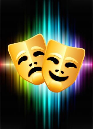 추상 스펙트럼 배경에 코미디와 비극 마스크