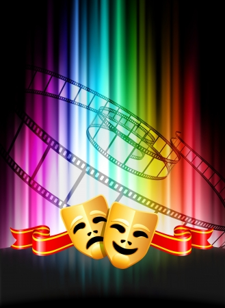 Comedy and Tragedy Masks on Abstract Spectrum Background  Vector