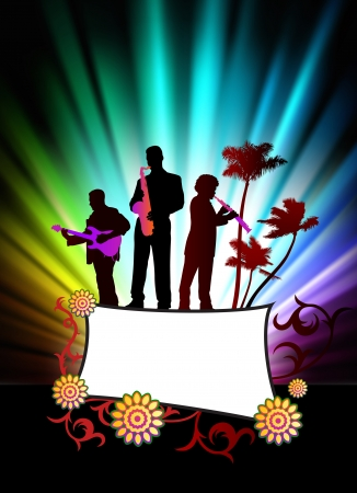 Live Music Band on Abstract Tropical Frame with Spectrum    Vector