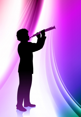 clarinet player: Flute Player on Abstract Color Background  Illustration
