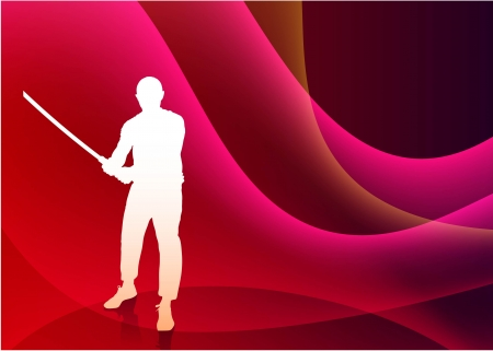 sensei: Karate Sensei with Sword on Abstract Violet Wave Background