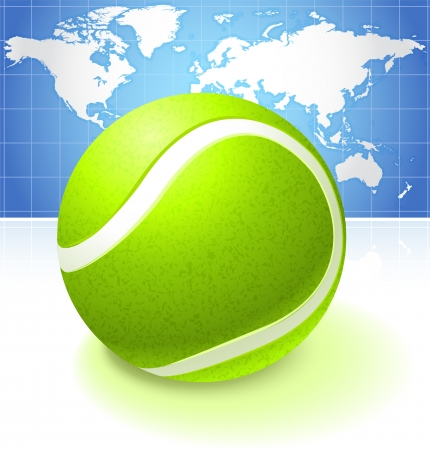 Tennis Ball with World Map Background  Vector