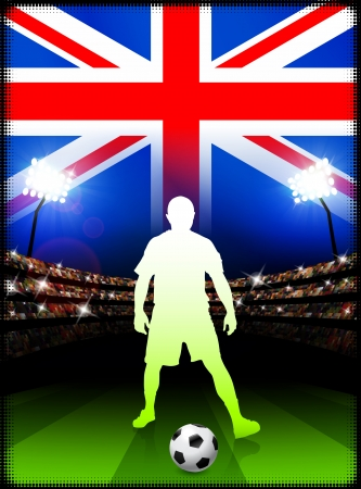 British Soccer Player in Stadium Match  Vector