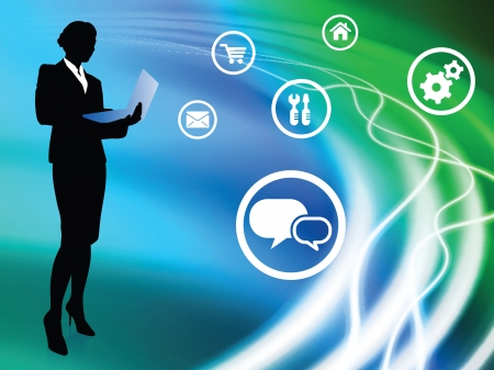Businesswoman on Abstract Background with Icons