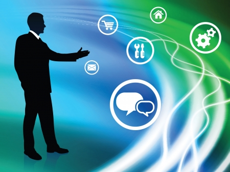 Businessman on Abstract Background with Icons